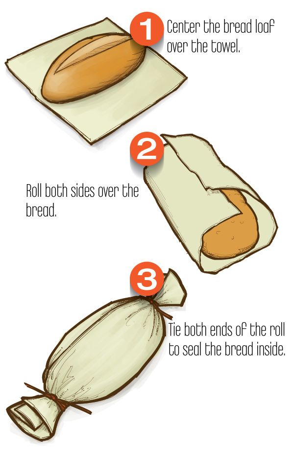 How to Wrapping Bread In Linen Cloth Towel